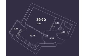 ЖК Уютний квартал: планування 1-кімнатної квартири 39.9 м²