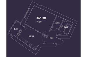 ЖК Уютний квартал: планування 1-кімнатної квартири 42.98 м²