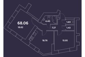 ЖК Уютний квартал: планування 2-кімнатної квартири 68.06 м²