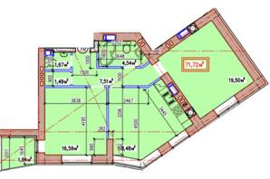 ЖК Уютний квартал: планування 2-кімнатної квартири 71.72 м²