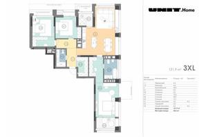 ЖК Unit.Home: планировка 3-комнатной квартиры 121.9 м²