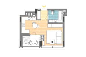 ЖК Unit.Home: планировка 1-комнатной квартиры 32.9 м²