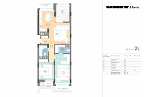 ЖК Unit.Home: планування 2-кімнатної квартири 82.9 м²
