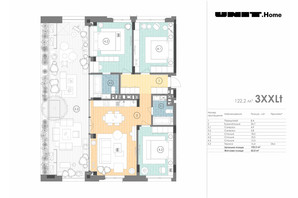 ЖК Unit.Home: планування 3-кімнатної квартири 122.2 м²