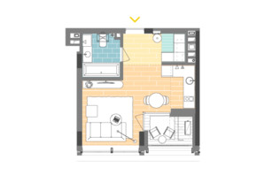 ЖК Unit.Home: планування 1-кімнатної квартири 30.1 м²