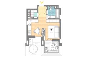 ЖК Unit.Home: планування 1-кімнатної квартири 33.8 м²