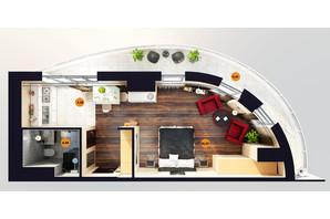 ЖК Unity Towers: планування 1-кімнатної квартири 44.61 м²