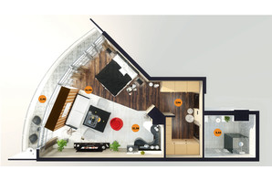 ЖК Unity Towers: планування 1-кімнатної квартири 46.55 м²