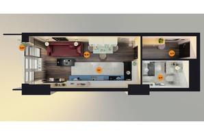 ЖК Unity Towers: планировка 1-комнатной квартиры 26.1 м²