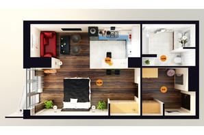 ЖК Unity Towers: планировка 1-комнатной квартиры 30.41 м²