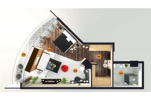 ЖК Unity Towers: планировка 1-комнатной квартиры 46.55 м²