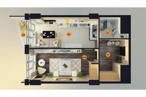 ЖК Unity Towers (Юніті Тауерс): планування 1-кімнатної квартири 54.05 м²