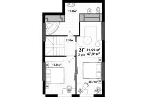 ЖК Uno City House: планировка 3-комнатной квартиры 103 м²