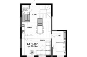ЖК Uno City House: планировка 4-комнатной квартиры 134.85 м²