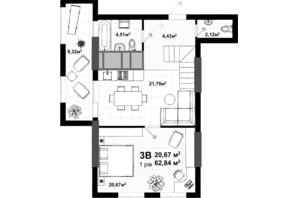 ЖК Uno City House: планування 3-кімнатної квартири 122.28 м²