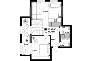ЖК Uno City House: планування 3-кімнатної квартири 141.43 м²
