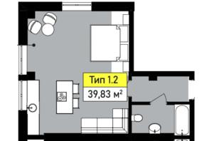 ЖК Urban One Sumskaya: планування 1-кімнатної квартири 39.83 м²