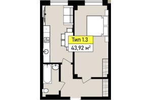 ЖК Urban One Sumskaya: планування 1-кімнатної квартири 43.92 м²