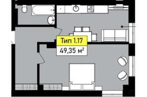 ЖК Urban One Sumskaya: планування 1-кімнатної квартири 49.35 м²