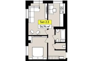 ЖК Urban One Sumskaya: планування 2-кімнатної квартири 56.94 м²
