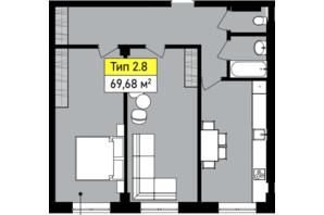 ЖК Urban One Sumskaya: планування 2-кімнатної квартири 68.68 м²