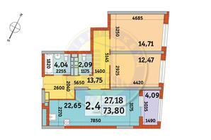 ЖК Urban Park: планировка 2-комнатной квартиры 73.8 м²