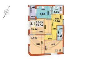 ЖК Urban Park: планировка 3-комнатной квартиры 75.04 м²