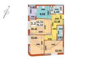 ЖК Urban Park: планировка 3-комнатной квартиры 75.32 м²