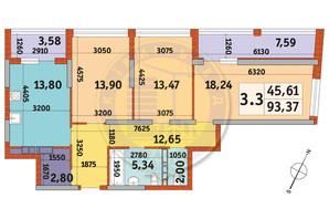 ЖК Urban Park: планировка 3-комнатной квартиры 93.37 м²