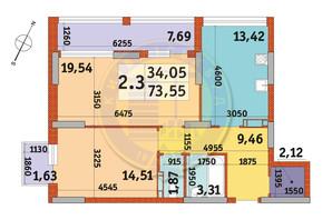 ЖК Urban Park: планировка 2-комнатной квартиры 73.55 м²