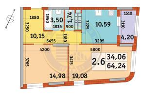ЖК Urban Park: планировка 2-комнатной квартиры 64.24 м²