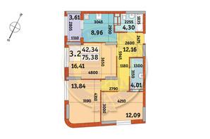 ЖК Urban Park: планировка 3-комнатной квартиры 75.38 м²