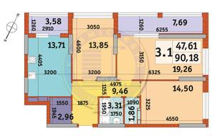 ЖК Urban Park: планировка 3-комнатной квартиры 90.18 м²