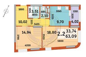 ЖК Urban Park: планировка 2-комнатной квартиры 63.09 м²