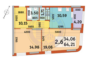 ЖК Urban Park: планировка 2-комнатной квартиры 64.21 м²