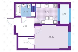 ЖК Urban Park: планування 1-кімнатної квартири 42.27 м²