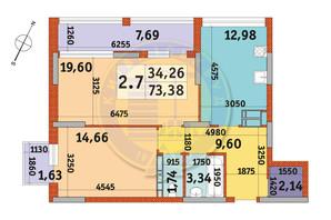 ЖК Urban Park: планування 2-кімнатної квартири 73.38 м²