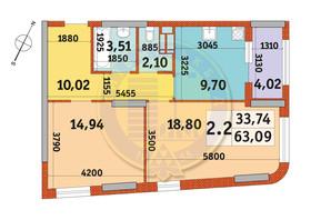 ЖК Urban Park: планування 2-кімнатної квартири 63.09 м²