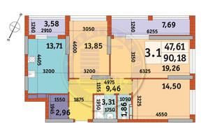 ЖК Urban Park: планування 3-кімнатної квартири 90.18 м²