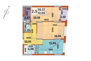 ЖК Urban Park: планування 2-кімнатної квартири 72.05 м²