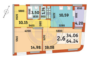 ЖК Urban Park: планування 2-кімнатної квартири 64.24 м²
