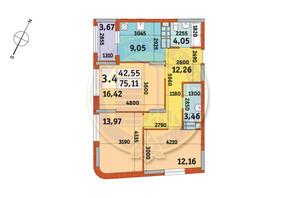 ЖК Urban Park: планування 3-кімнатної квартири 75.11 м²