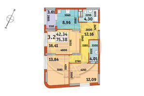 ЖК Urban Park: планування 3-кімнатної квартири 75.38 м²