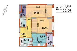 ЖК Urban Park: планування 2-кімнатної квартири 65.07 м²