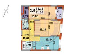 ЖК Urban Park: планування 2-кімнатної квартири 71.86 м²