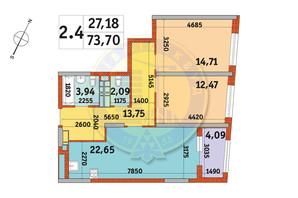 ЖК Urban Park: планування 2-кімнатної квартири 73.7 м²