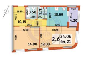 ЖК Urban Park: планування 2-кімнатної квартири 64.21 м²