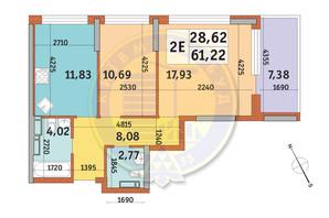 ЖК Урлівський-1: планування 2-кімнатної квартири 61.22 м²