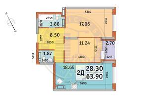 ЖК Урлівський-1: планування 2-кімнатної квартири 63.9 м²