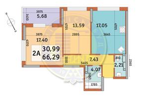 ЖК Урлівський-1: планування 2-кімнатної квартири 66.29 м²
